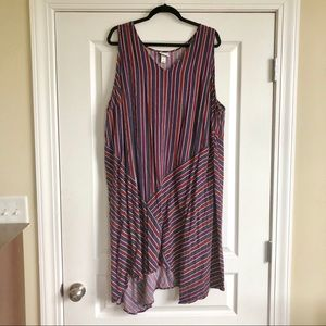 Asymmetrical red and blue striped dress